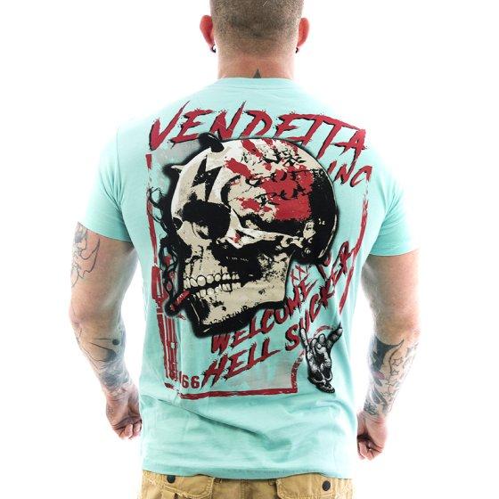 Vendetta Inc. Shirt Hell Skull 1039 turquoise