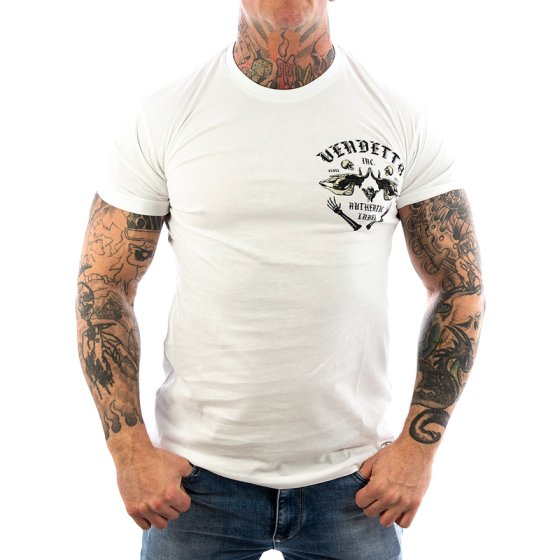Vendetta Inc. Shirt Skull Bones white VD-1089