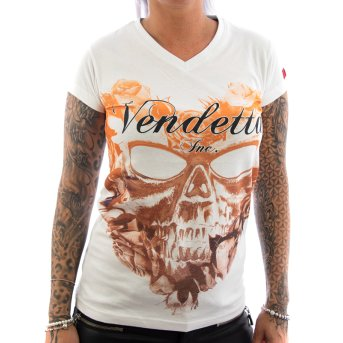 Vendetta Inc. Shirt Flower Skull weiß XS