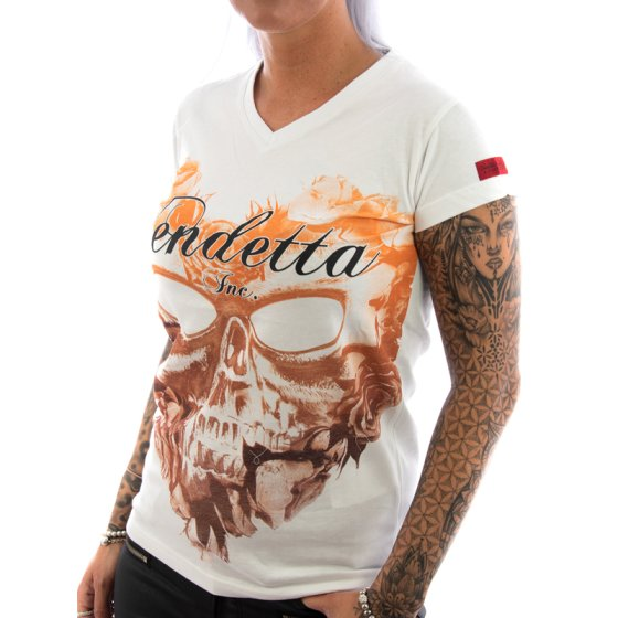 Vendetta Inc. Shirt Flower Skull weiß L